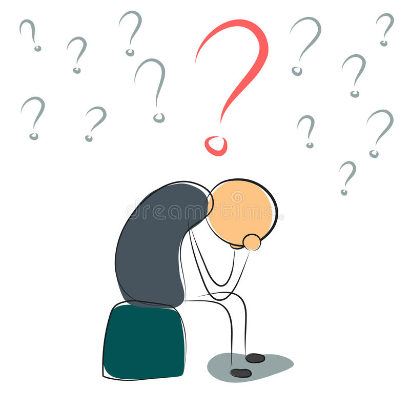 Deprimierter Mann mit vielen Fragen vektor abbildung