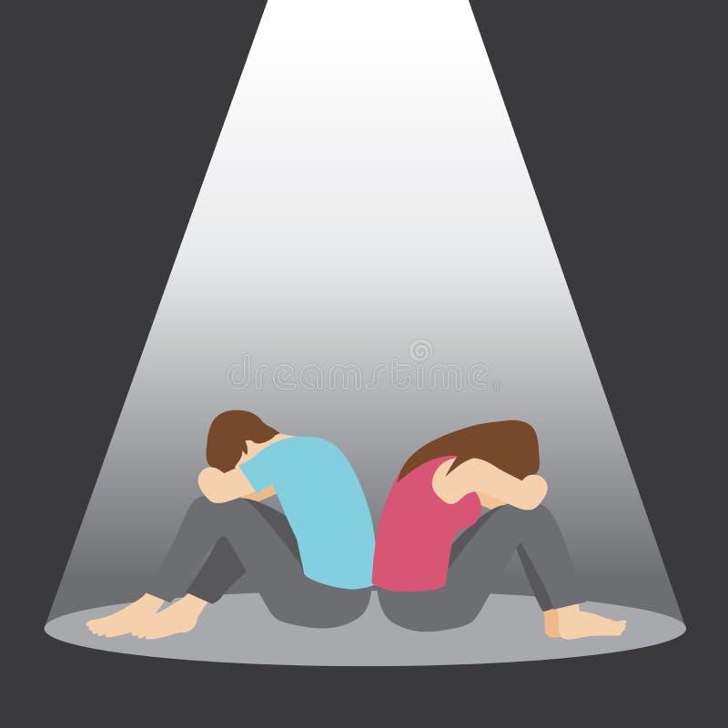 Deprimierter und trauriger Mann und Frau stock abbildung