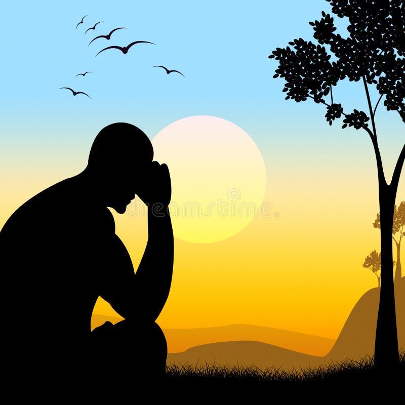 Deprimiertes Schattenbild stellt verlorene Hoffnung und Mann dar lizenzfreie abbildung