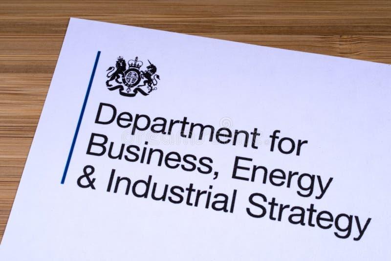 Dept для дела, энергии и промышленной стратегии стоковые изображения rf