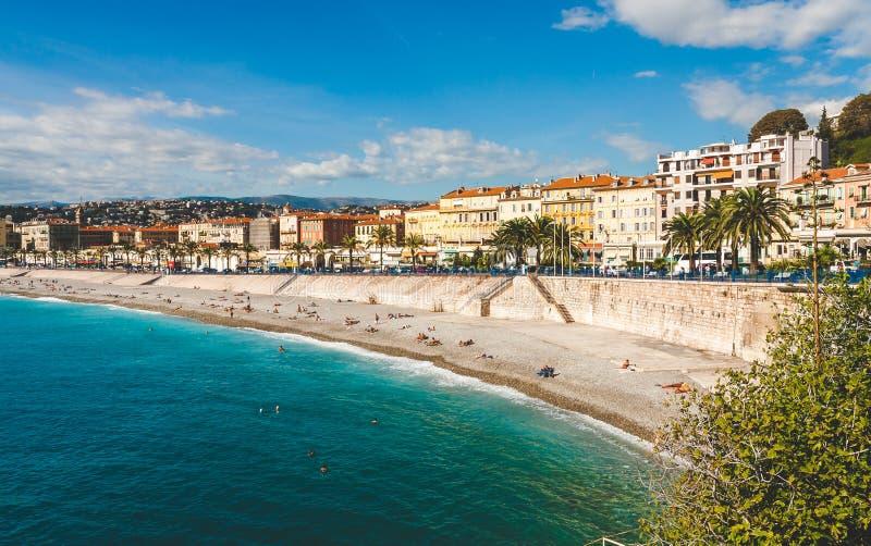 Deptaka des Anglais i plaża w Ładnym zdjęcia royalty free