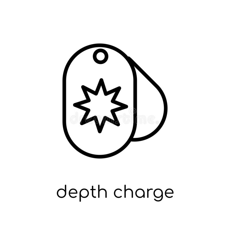 depth charge icon. Trendy modern flat linear vector depth charge royalty free illustration