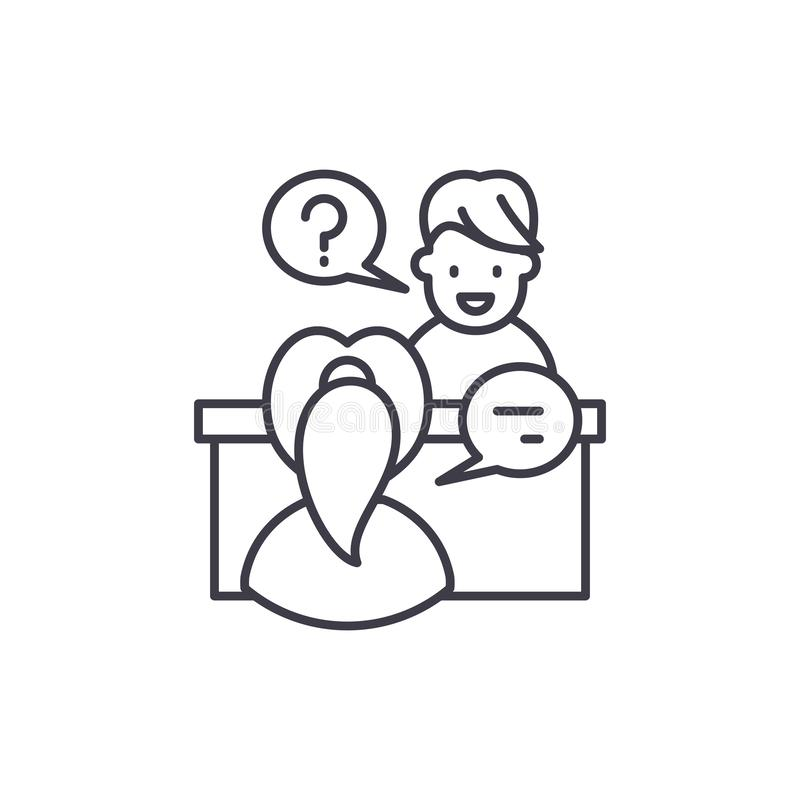 In depth interview line icon concept. In depth interview vector linear illustration, symbol, sign. In depth interview line icon concept. In depth interview stock illustration