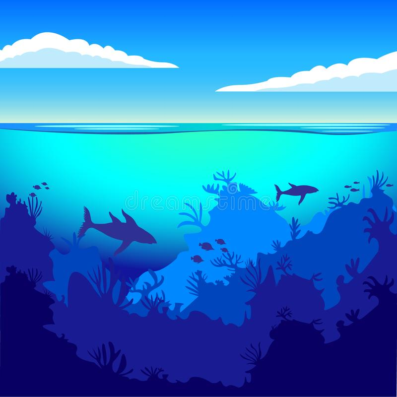 The depths of the ocean, on the seabed, underwater. Flat style stock illustration