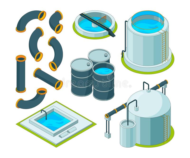 Depurazione delle acque Icone isometriche d'innaffiatura di vettore chimico del laboratorio del sistema di pulizia di trattamento illustrazione vettoriale