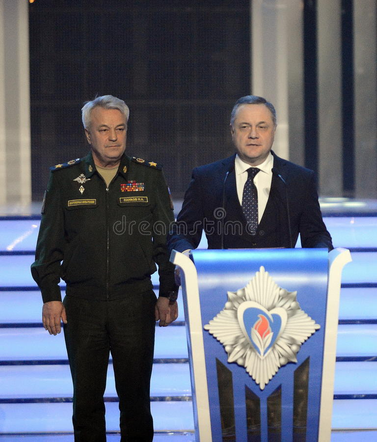 Deputado ministro da Defesa da Federação Russa, general do exército Nikolai Pankov e deputado Minister da defesa civil Vlad imagens de stock