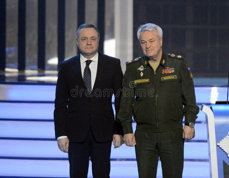 Deputy Minister of defence of the Russian Federation, General of the army Nikolai Pankov and Deputy Minister of civil defense Vlad. MOSCOW, RUSSIA - FEBRUARY 17 stock photography