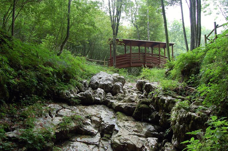 Der Abgrund des Teufels, Holzbrücke - Basovizza - Triest - Italien lizenzfreies stockbild