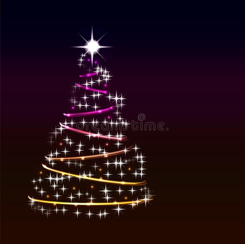 Der abstrakte glänzende Weihnachtsbaum, der von der hellen Kette gemacht werden und die Sterne auf dunkler Farbe gradien backgrou lizenzfreie abbildung