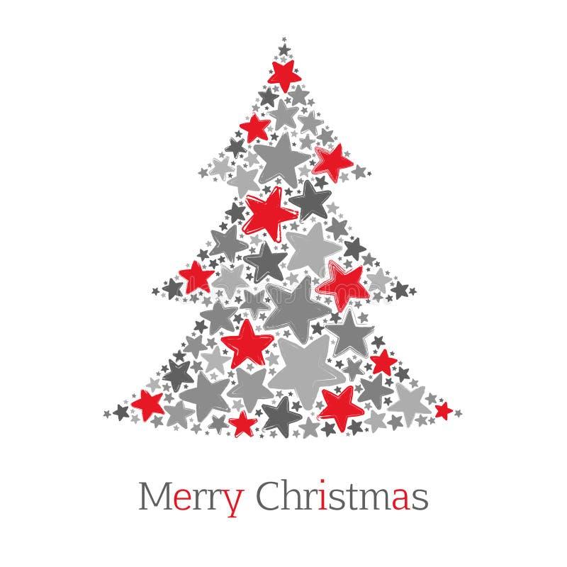 Der abstrakte Weihnachtsbaum, der von Rotem und vom Grau gemacht wird, spielt auf weißem Hintergrund die Hauptrolle stock abbildung