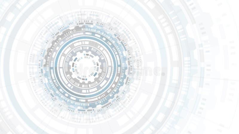 Der abstrakten futuristische Benutzerschnittstelle Kreisstruktur HUDs Erfinderische Forschung der wissenschaftlichen Chemie Hight stockbild