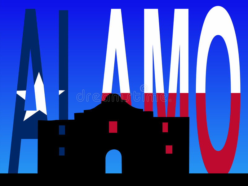 Der Alamo mit Texanmarkierungsfahne lizenzfreie abbildung