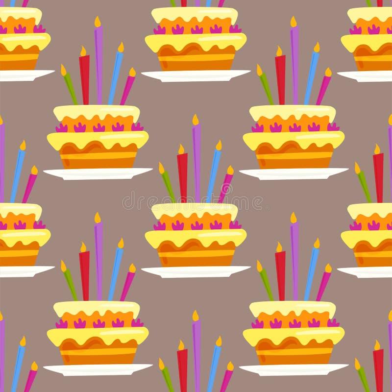 Der alles- Gute zum Geburtstagüberraschungsdekoration der Parteikuchenfeier Musterereignis-Jahrestagsvektor nahtloser lizenzfreie abbildung