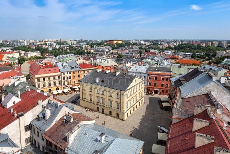Der alte Stadtmarktplatz in Lublin, Polen lizenzfreie stockfotos