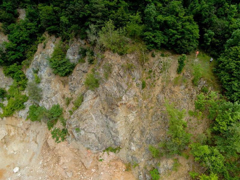 Der alte Steinbruch in Brno-Komin von oben stockfoto
