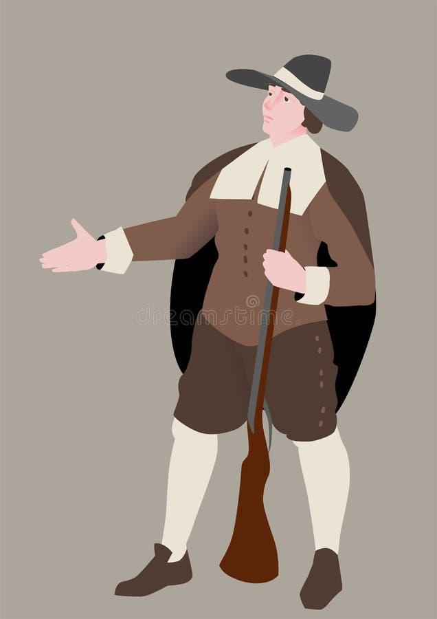 Der amerikanische Pilger, Vektorillustration bis zum Danksagungs-Tag Der Mann in einer traditionellen Klage und in einem Gewehr vektor abbildung