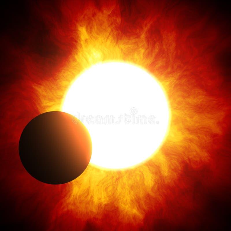 der Anfang einer Sonnenfinsternis vektor abbildung