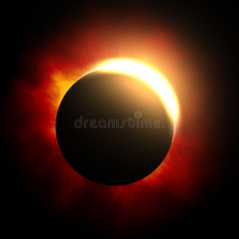 der Anfang einer Sonnenfinsternis stock abbildung