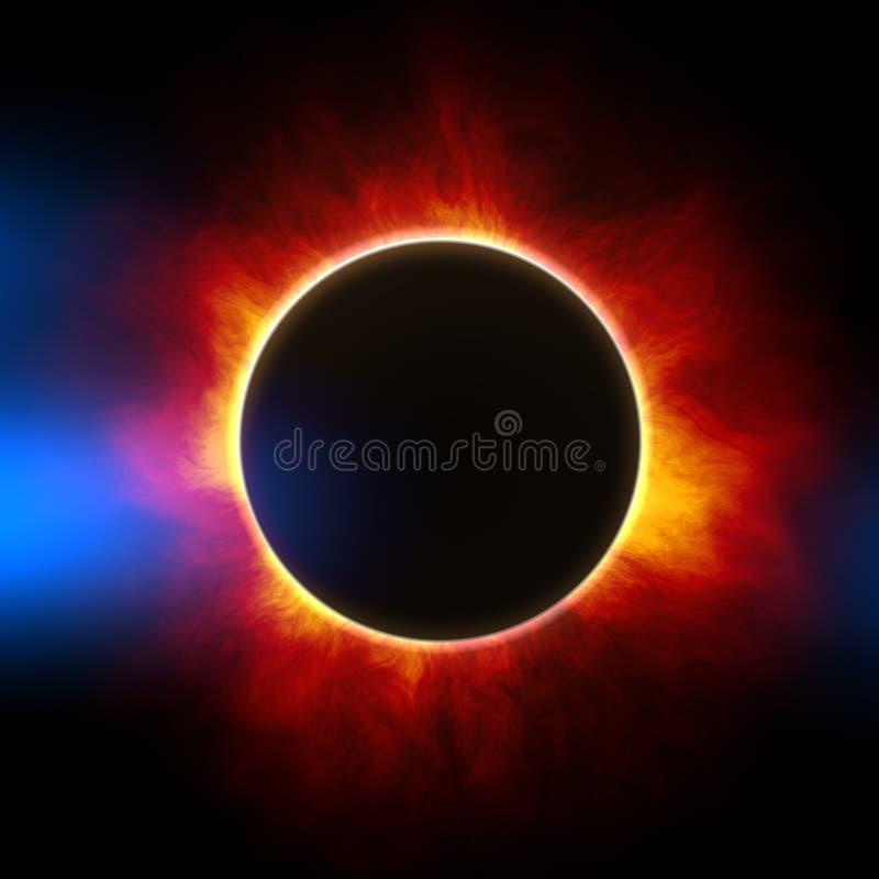 der Anfang einer Sonnenfinsternis lizenzfreie abbildung