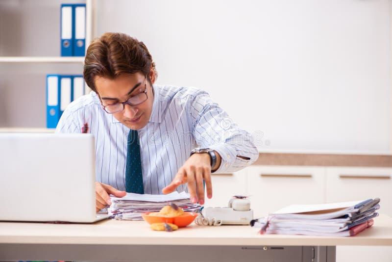 Der Angestellte, der Nahrung mit den Schaben herum kriechen isst stockbild