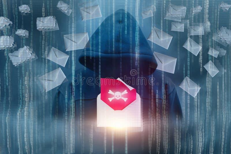 Der Angreifer sendet ein Virus stock abbildung
