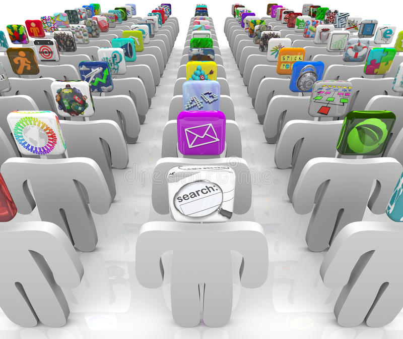 Der Apps Markt - Leute mit Ikonen-Köpfen lizenzfreie abbildung