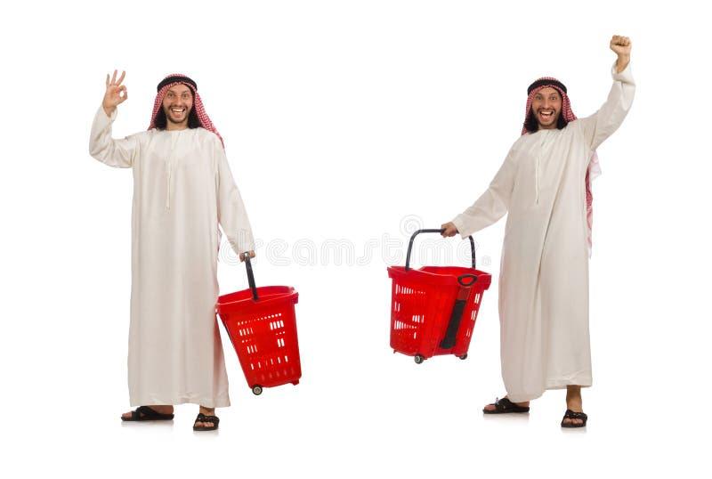 Der arabische Mann, der das Einkaufen lokalisiert auf Wei? tut lizenzfreies stockbild
