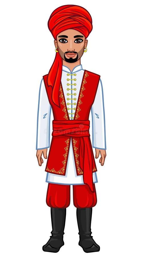 Der arabische Mann in der alten Kleidung stock abbildung