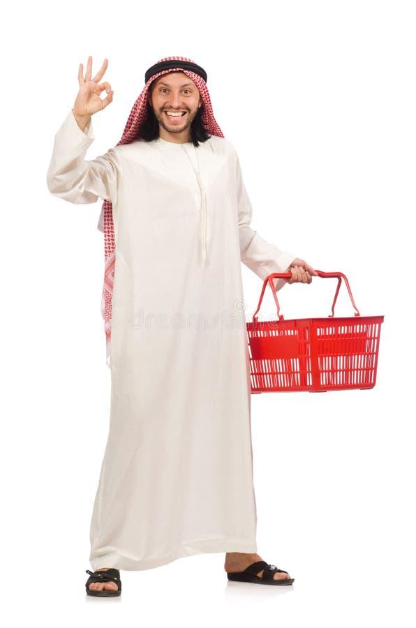 Der arabische Mann, der das Einkaufen lokalisiert auf Weiß tut stockfotografie