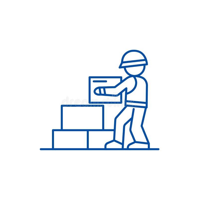 Der Arbeitskrafterbauer, der Ziegelsteine nimmt, zeichnen Ikonenkonzept Arbeitskrafterbauer, der Ziegelsteinen flaches Vektorsymb lizenzfreie abbildung