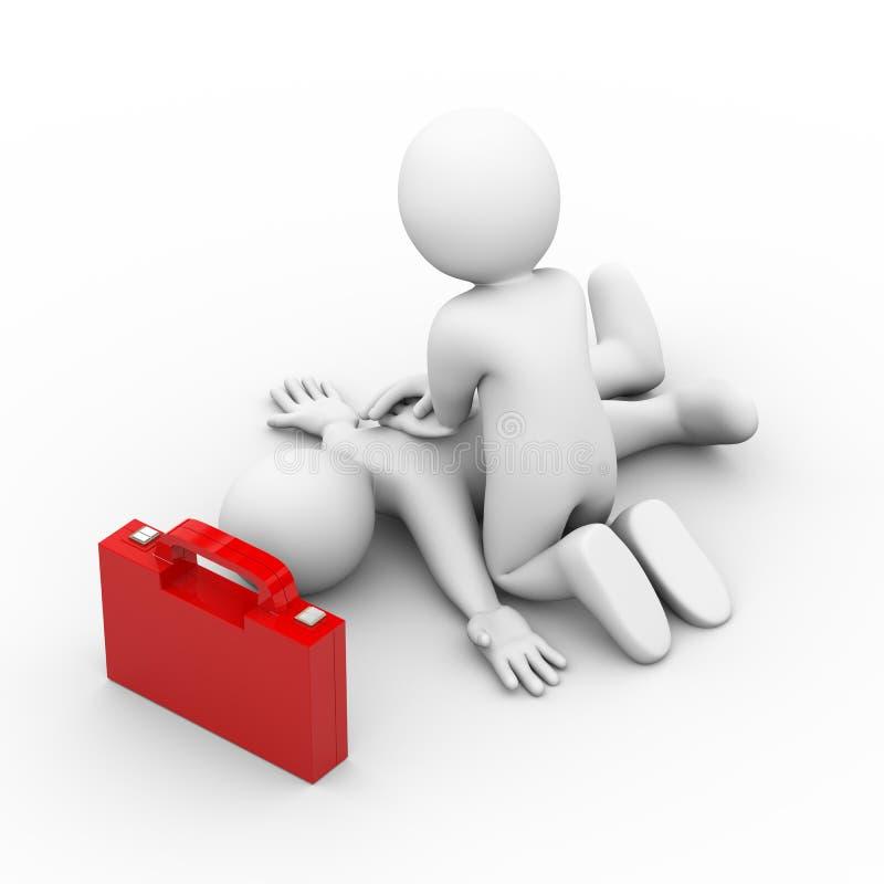 der Atem-ersten Hilfe des Mannes 3d künstliche Hilfe stock abbildung