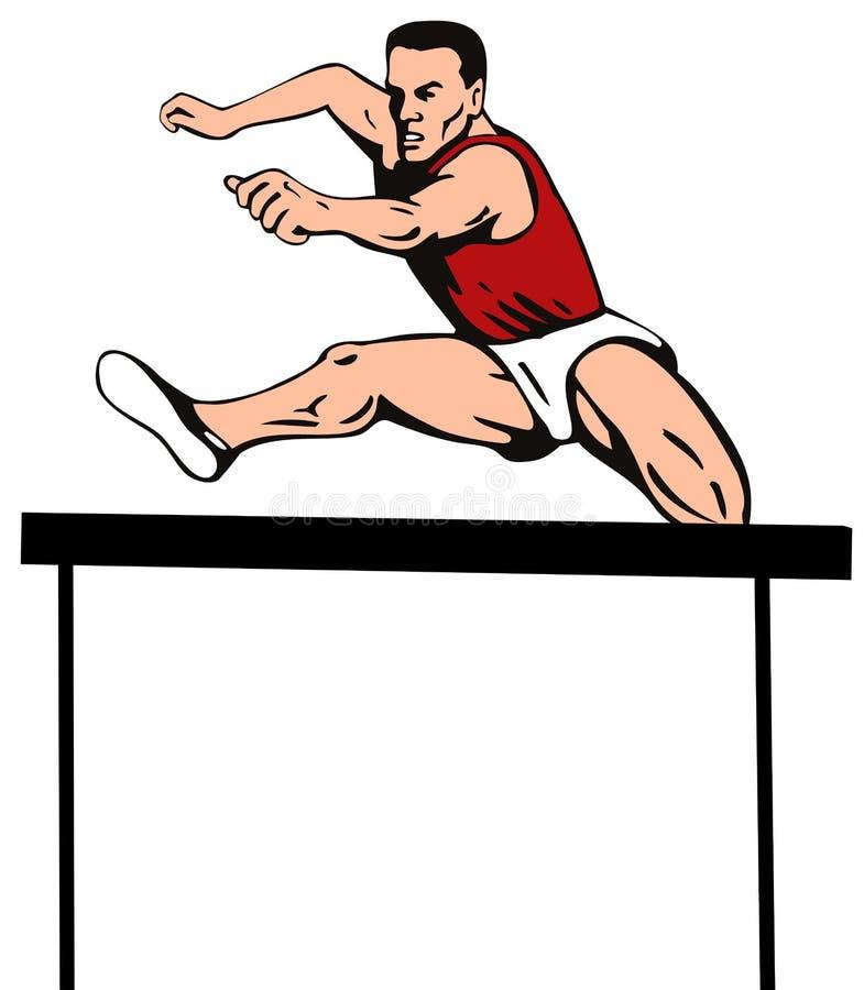 Der Athlet die Hürde springend vektor abbildung