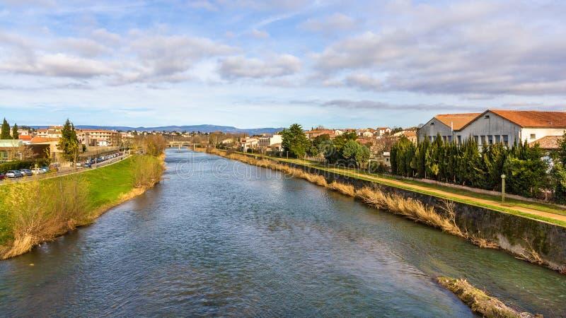 Der Aude-Fluss in Carcassonne lizenzfreies stockfoto