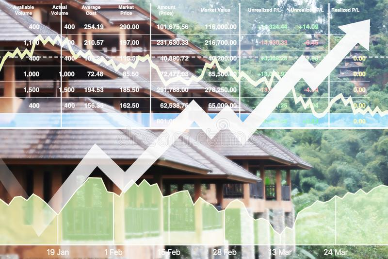 Der auf Lager erfolgreiche Investition Finanzindexshow auf Reiseveranstalter stockfoto