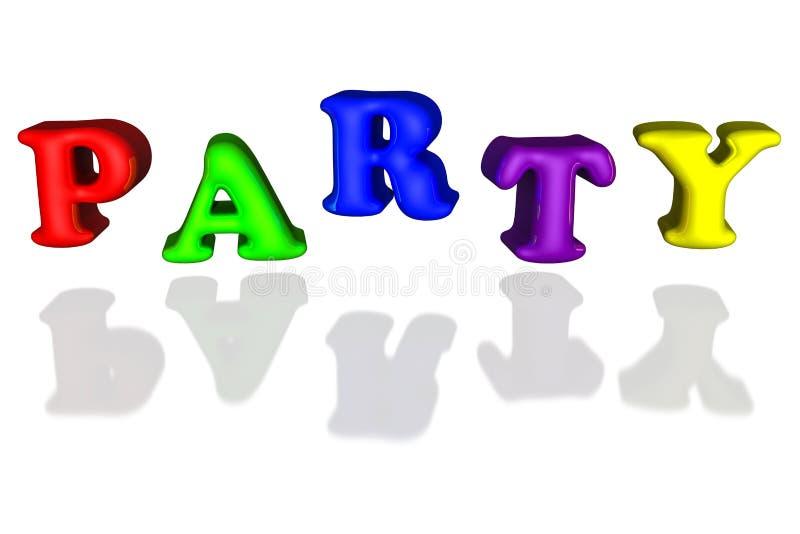 Der aufgeblasene Ballon beschriftet Partei buntes Primär-3d lizenzfreie abbildung