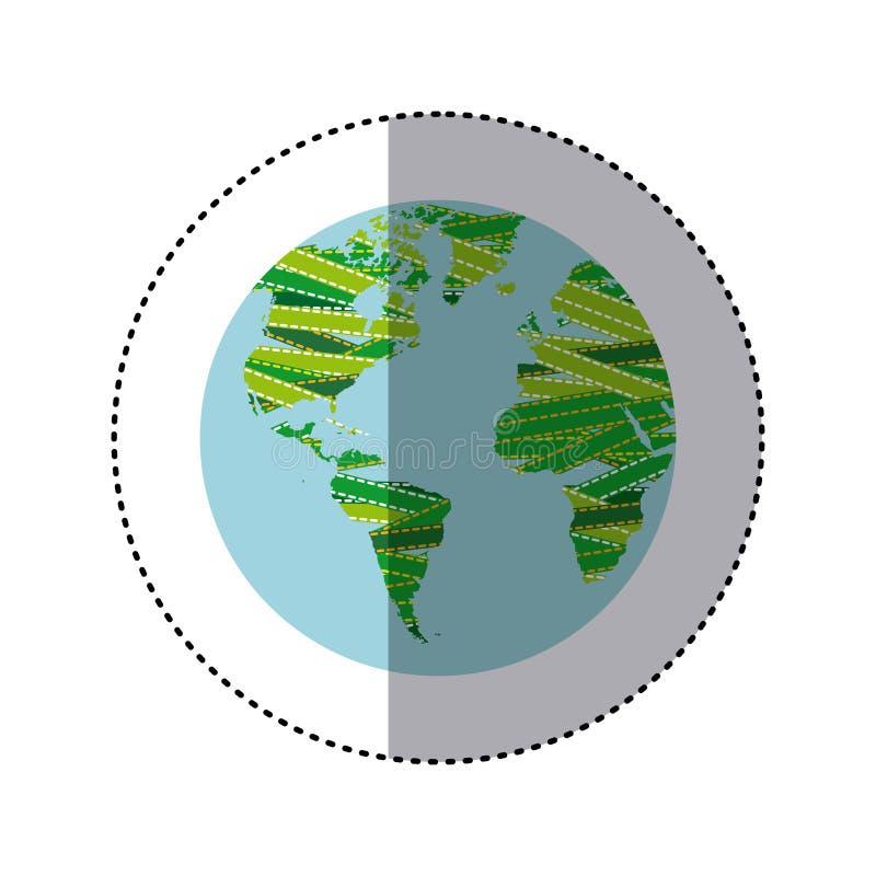 der Aufkleber, der bunte Kugelerdkontinente mit Gewebe schattiert, zeichnet stock abbildung