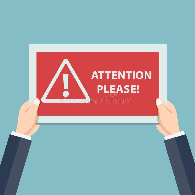 Der Aufmerksamkeit Konzept bitte der wichtigen Mitteilung Menschliche Hände halten rotes Zeichen und Fahne der Vorsicht, Aufmerks lizenzfreie abbildung
