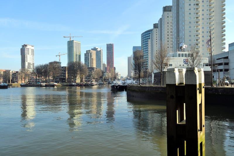Der Aufstieg von hohen Aufstiegen am Wein Quay, ein innerer Hafen der Maas im Stadtzentrum gelegenes Rotterdam lizenzfreie stockfotografie