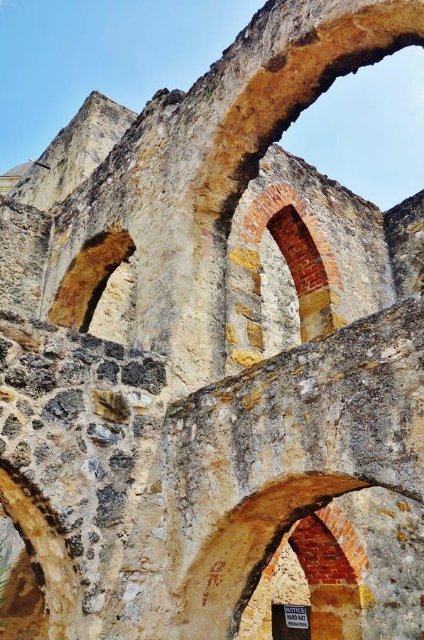 Der Auftrag San Jose y San Miguel de Aguayo in San Antonio, Texas stockfotos