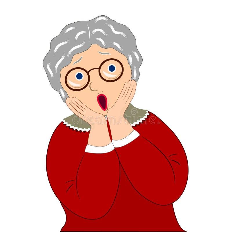 Der Ausdruck der Großmutter, überrascht Die Gefühle der alten Frau gegenüberzustellen Hände Abbildung auf wei?em Hintergrund vektor abbildung
