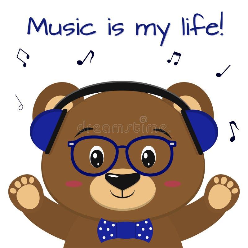 Der Bär ist ein brauner Musiker und hört Musik in den blauen Kopfhörern, in den Gläsern und in einer Fliege mit den angehobenen T stock abbildung