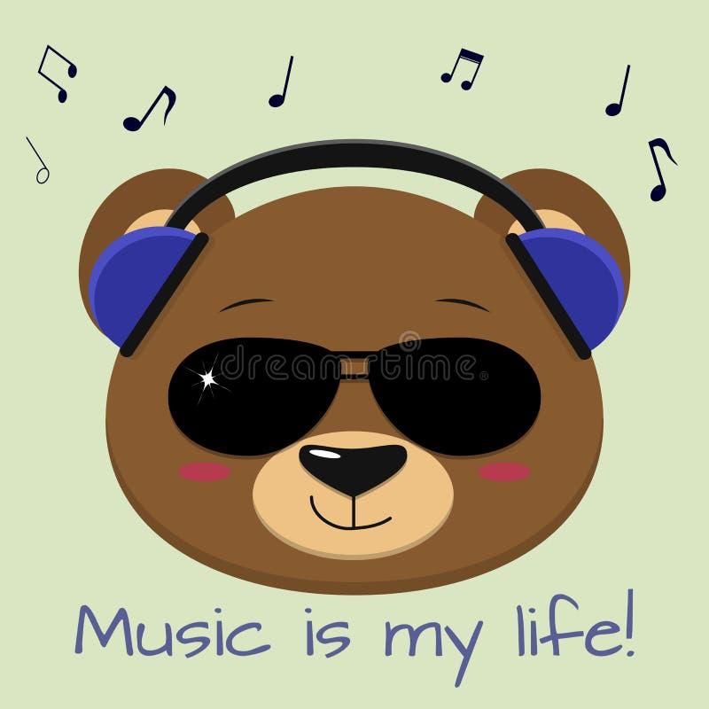 Der Bär ist ein brauner Musiker und hört Musik in den blauen Kopfhörern und in der Sonnenbrille, im Stil der Karikaturen lizenzfreie abbildung