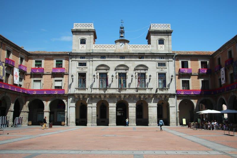 Der Bürgermeister Square in Avila, Spanien stockfoto