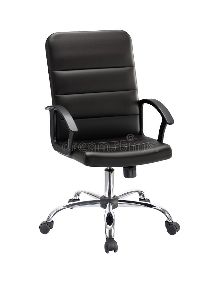 Der Bürostuhl vom schwarzen Leder stockbilder
