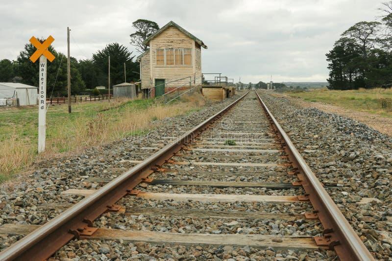 Der Bahnhof 1874 Trawalla auf der Ararat-Linie wurde als Haltestelle im Jahre 1981 geschlossen lizenzfreie stockfotografie