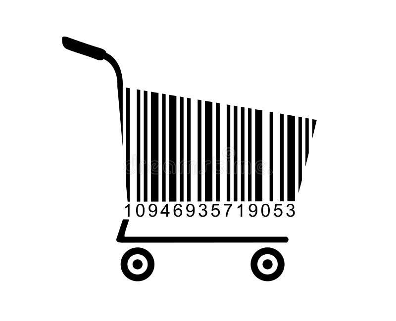 Der barcodeverkaufsprodukte des Laufkatzensupermarktspeichers Einkaufsschwarzer Freitag-Verkauf, Kaufvektorillustrationsikonen-Wa stock abbildung