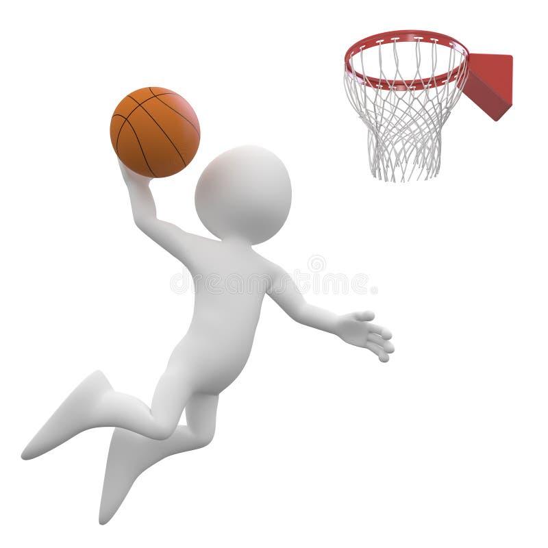 Der Basketball-Spieler bildend tauchen im Korb ein vektor abbildung