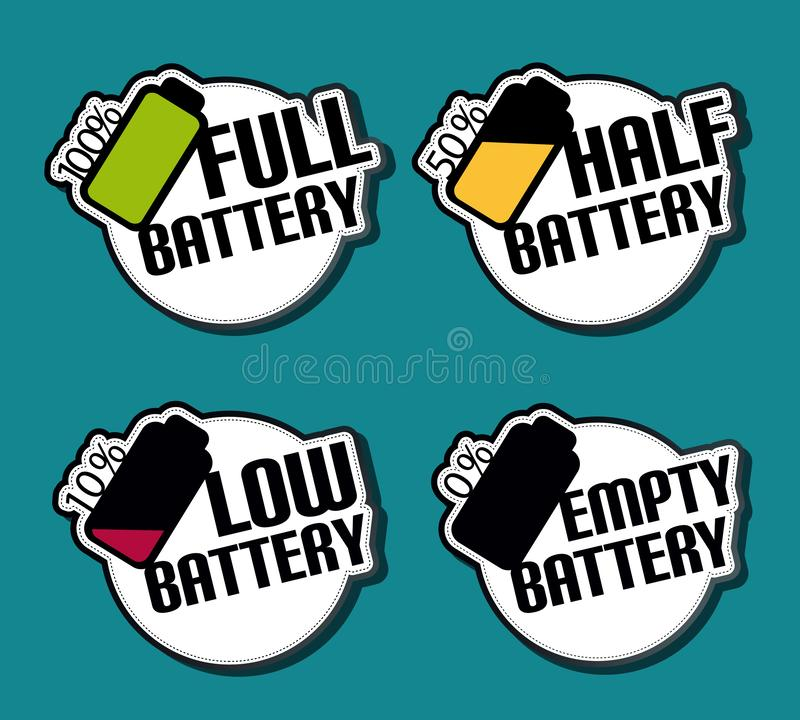Der Batterie-Status-volle niedrigen leeren Hälfte Aufkleber-- bunte Vektor-Illustration - lokalisiert auf einfarbigem Hintergrund lizenzfreie abbildung
