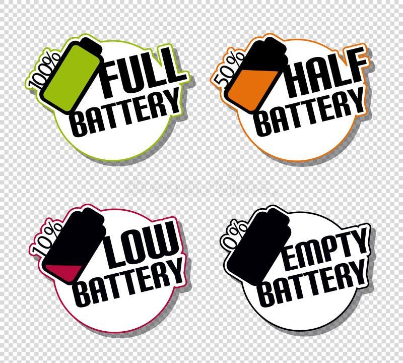 Der Batterie-Status-volle niedrigen leeren Hälfte Aufkleber-- bunte Vektor-Illustration - lokalisiert auf transparentem Hintergru vektor abbildung
