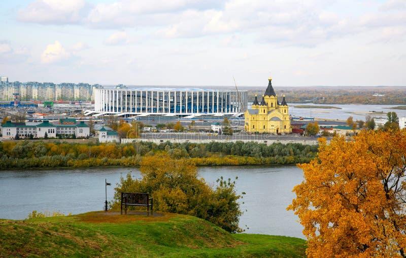 Der Bau eines neuen Fußballstadions in Nischni Nowgorod lizenzfreie stockfotos